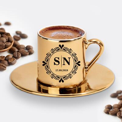 - Harfli ve Tarihli Gold Kahve Fincanı