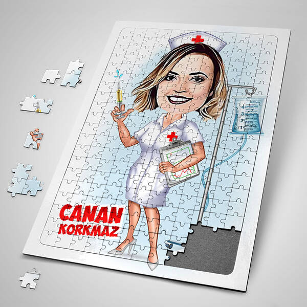 Hemşire Karikatürlü Puzzle