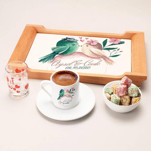 Hep Mutlu Olalım Damat Kahvesi Sunum Seti