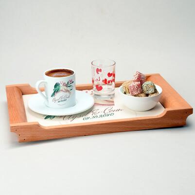Hep Mutlu Olalım Damat Kahvesi Sunum Seti - Thumbnail