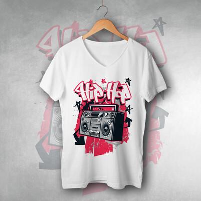 Hip Hop Tasarımlı Unisex Tişört - Thumbnail