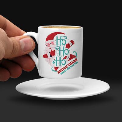 Ho Ho Ho Tasarımlı Yılbaşı Kahve Fincanı - Thumbnail
