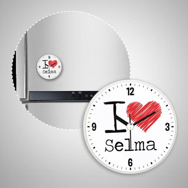 I Love İsme Özel Saatli Buzdolabı Magneti