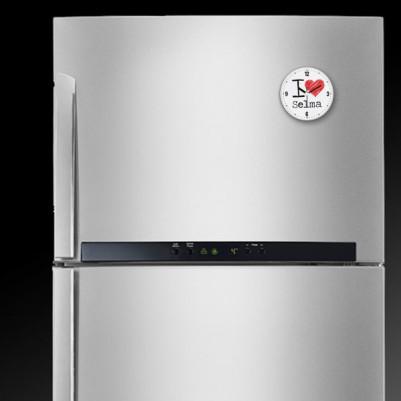 I Love İsme Özel Saatli Buzdolabı Magneti - Thumbnail