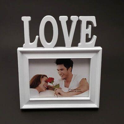 - I LOVE Kırmızı Kalpli Fotoğraf Çerçevesi