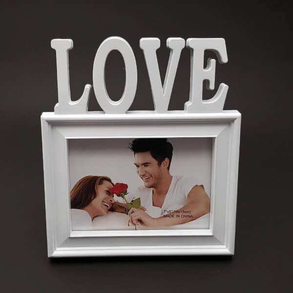 I LOVE Kırmızı Kalpli Fotoğraf Çerçevesi