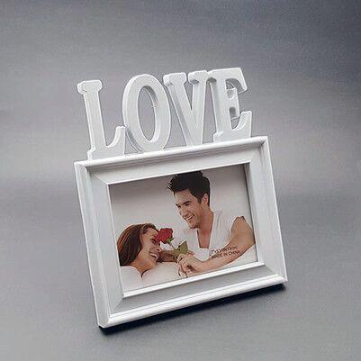 I LOVE Kırmızı Kalpli Fotoğraf Çerçevesi - Thumbnail