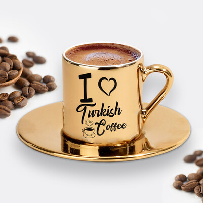 I Love Turkish Coffee Gold Kahve Fincanı - Thumbnail