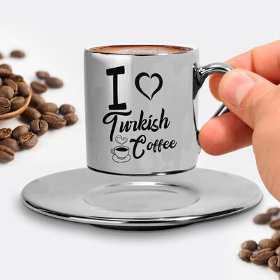 I Love Turkish Coffee Silver Kahve Fincanı - Thumbnail