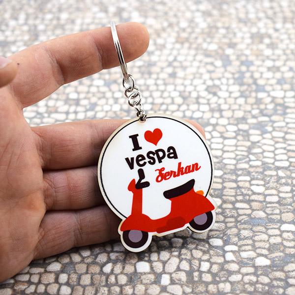 I Love Vespa Motor İsme Özel Anahtarlık