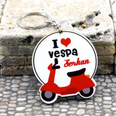 - I Love Vespa Motor İsme Özel Anahtarlık