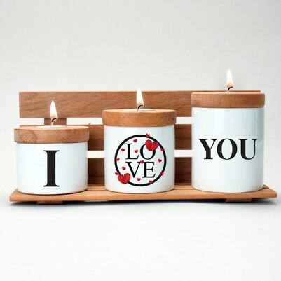 - I Love You Ahşap Mumluk Seti