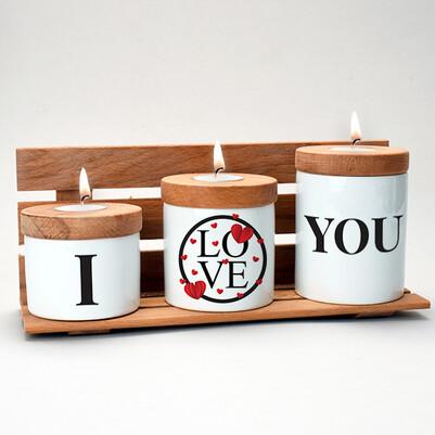 I Love You Ahşap Mumluk Seti - Thumbnail