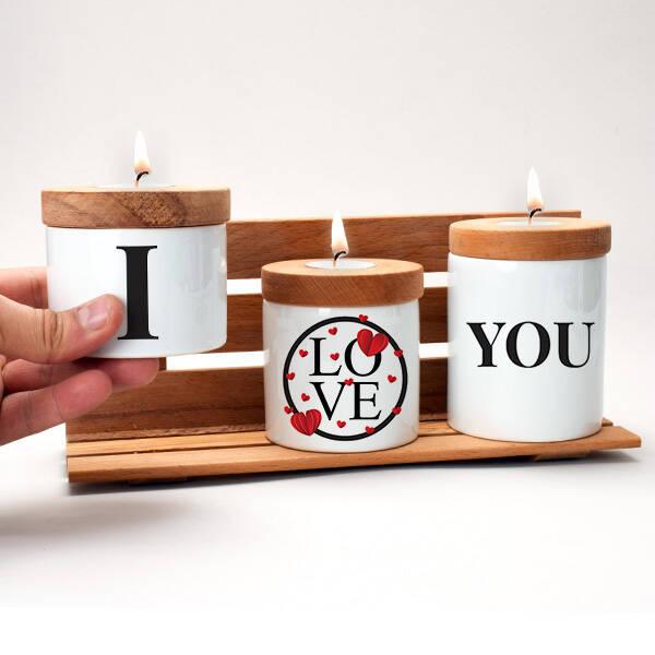 I Love You Ahşap Mumluk Seti