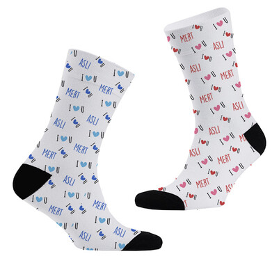 - I Love You İsime Özel 2'li Çorap Seti