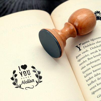 - I Love You İsme Özel Kitap Damgası