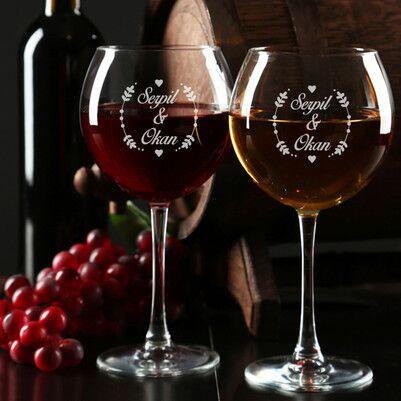 - İki İsimli Kişiye Özel Şarap Kadehi Seti
