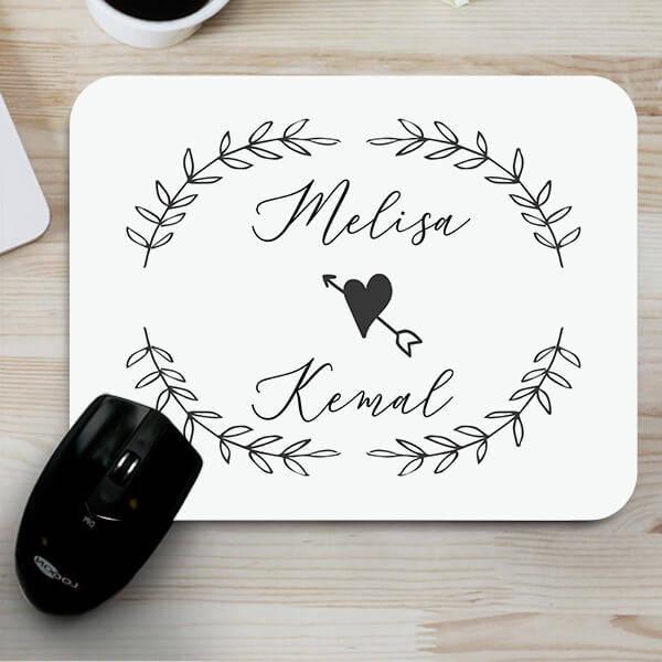 İki İsimli Sevgililere Özel Mousepad