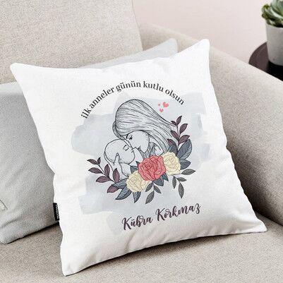 İlk Anneler Günü Tasarımlı Yastık - Thumbnail