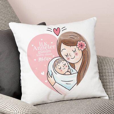 - İlk Anneler Günün Kutlu Olsun Anne Yastık