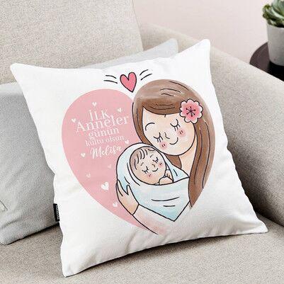 İlk Anneler Günün Kutlu Olsun Anne Yastık - Thumbnail