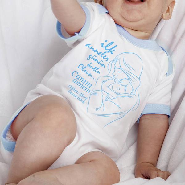 İlk Anneler Günün Kutlu Olsun Mavi Bebek Body