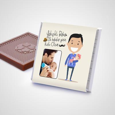 İlk Babalar Günü Hediyesi Çikolata Kutusu - Thumbnail