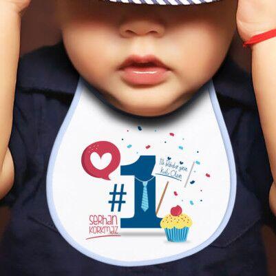 - İlk Babalar Günü Hediyesi Mama Önlüğü Mavi