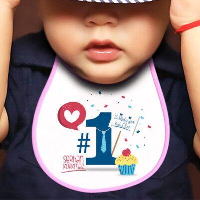 - İlk Babalar Günü Hediyesi Mama Önlüğü Pembe