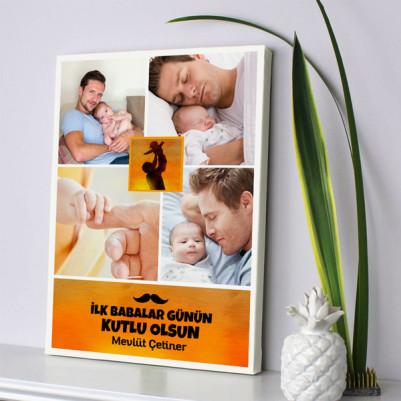 - İlk Babalar Günü Temalı Kanvas Tablo