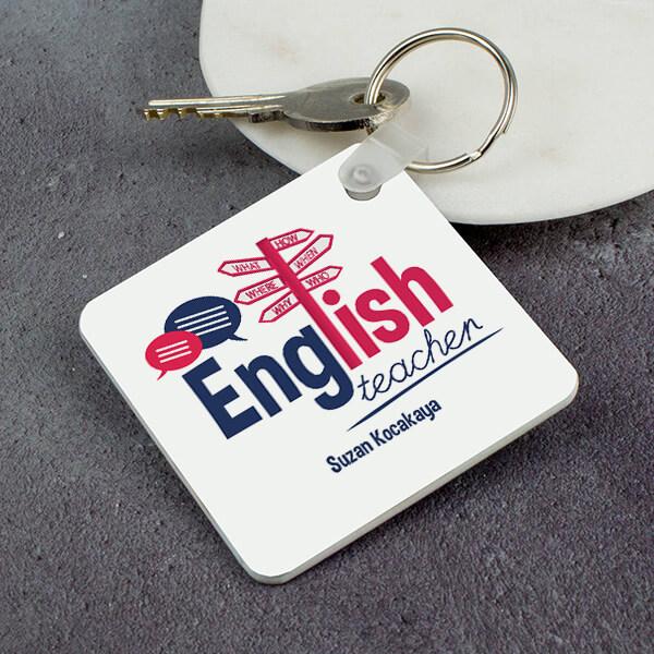 İngilizce Öğretmenine Hediye Kare Anahtarlık