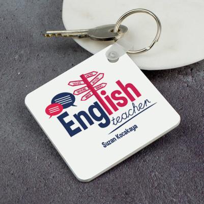 - İngilizce Öğretmenine Hediye Kare Anahtarlık