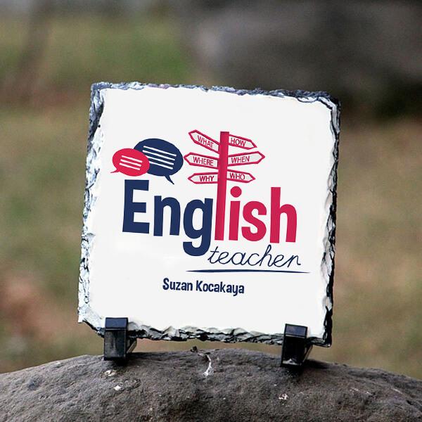 İngilizce Öğretmenine Hediye Kare Taş Baskı