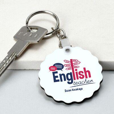 - İngilizce Öğretmenine Hediye Papatya Anahtarlık