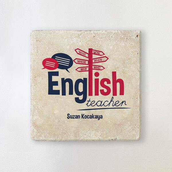 İngilizce Öğretmenine Özel Taş Bardak Altlığı