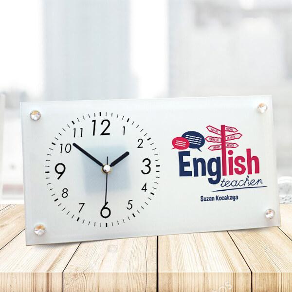 İngilizce Öğretmenlerine Hediye Cam Masa Saati