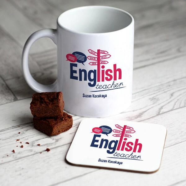 İngilizce Öğretmenlerine Hediye Kupa ve Bardak Altlığı