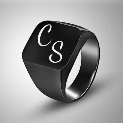 İsim Baş Harflerine Özel Erkek Yüzüğü - Thumbnail