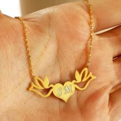 İsim Baş Harflerine Özel Kalp Kuşları Kolye - Thumbnail