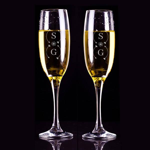 İsim Baş Harfli Hediyelik 2'li Şampanya Kadehleri