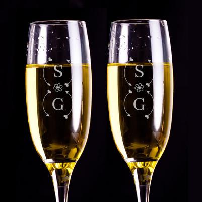 İsim Baş Harfli Hediyelik 2'li Şampanya Kadehleri - Thumbnail