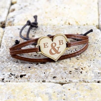 İsim Baş Harfli Kalp Ahşap Bileklik - Thumbnail