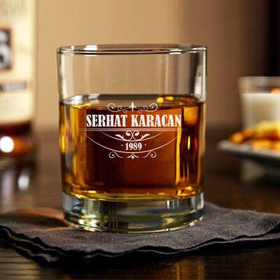 - İsim ve Tarih Yazılı Viski Bardağı