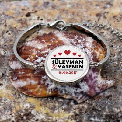 İsim Yazdırılabilen Metal Sevgili Bilekliği - Thumbnail