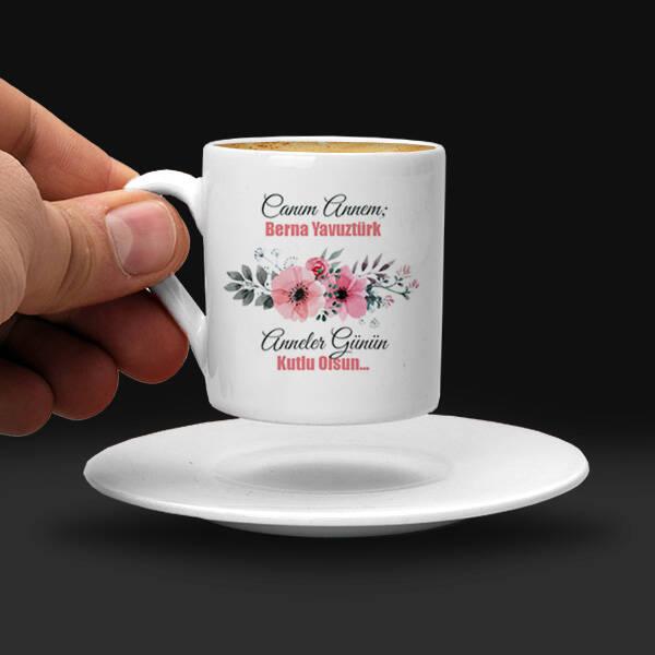 İsimli Çiçek Annem Kahve Fincanı