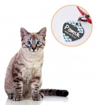 - İsimli Kalp Şeklinde Kedi Künyesi
