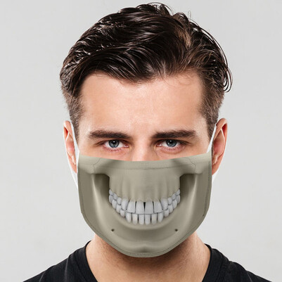 - İskelet Ağzı Tasarımlı Yıkanabilir Maske
