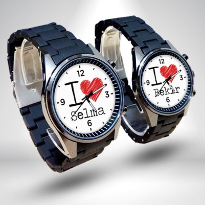 - İsme Özel 2'li I love Sevgili Kol Saatleri
