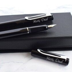 İsme Özel 2'li Kalem Seti Deri Kutuda - Thumbnail