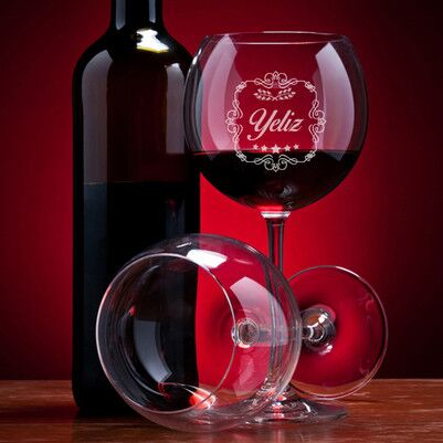 - İsme Özel 2'li Şarap Kadehi Seti